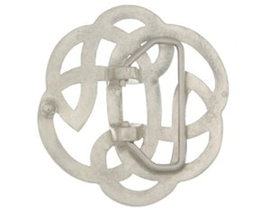 "Round Celtic Lugh's Knot belt buckle.  This buckle has a hinged bar for the belt to clip onto and the other end has a strong prong to push through the hole in the belt.  Buckle measures: 2.75"" wide x 2.75"" height  Belt loop measurement: 1.5"""