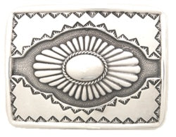 Silver horizontal buckle Arizona Sun with detail, sun burst in the middle.