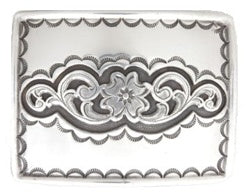 "Silver horizontal buckle with detail around the edges and pattern in the middle.  Belt loop measurement: 1.5"" or 1.75'"