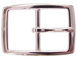 Our rectangle buckle comes in either brass or silver.