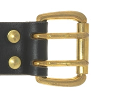 Our double prong roller buckle comes in either brass or silver.