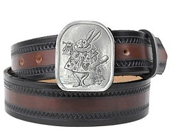 If you love Alice In Wonderland, this belt buckle is for you. The front has an image of the White Rabbit.  The back of the buckle says: ...And near the King was The White Rabbit, with a trumpet in one hand and a scroll of parchment in the other.