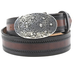 A pewter oval belt buckle with an intricate embossed Viking design. This buckle has a hinged bar for the belt to clip onto and the other end has a strong prong to push through the hole in the belt.