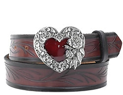 Western style single heart with silver flowers and feather detail and a bright red center.