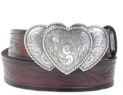 Western style triple heart silver buckle with filigree design and twisted rope borders.