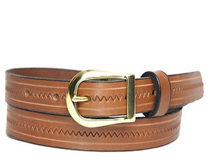 Our custom One-toned Zig Zag hand-dyed and hand tooled leather belt