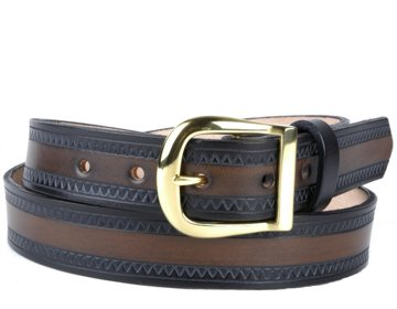 Custom Two-Tone Zig Zag Leather Belt