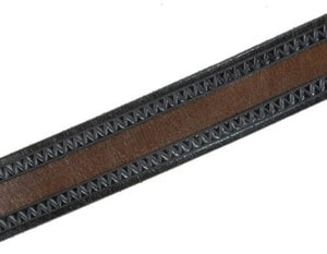 Our custom Two-toned Zig Zag hand-dyed and hand tooled leather belt Brown with Black edging