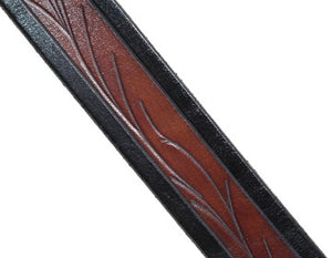 Our custom Viny hand-dyed and hand tooled leather belt Brown with Black edging