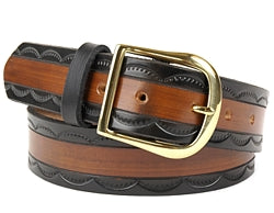 Our custom Two-Tone Black and Brown belt features a half circle pattern on the black edging of the belt and a brown center. This Leather Belt is hand-dyed and hand tooled creating a unique design and color.  It is available in 2 different widths.