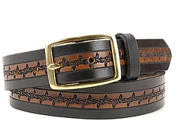 Our custom Two-Tone Barbed Wire Design Leather Belt is hand-dyed and hand tooled creating a unique design and color. The barbed wire design is continuous throughout the middle of the belt in black with a brown interior. The edging of the belt is plain black and is available in 1 width only.