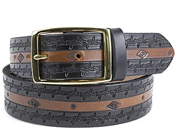 Custom Diamond and Barbed Wire Design Leather Belt | $74 - $80