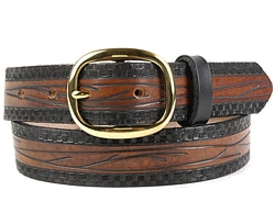 Our custom Vine Pattern Leather Belt is hand-dyed and hand tooled creating a unique design and color. The black vine design intertwines throughout the belt on a chocolate background with a solid black border on both sides. The belt is available in 1 width.