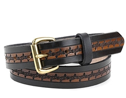 Custom Two-Tone Barbed Wire Design Leather Belt | $75 - $80