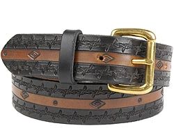 Our custom Two-Tone Diamond and Barbed Wire Design Leather Belt is hand-dyed and hand tooled creating a unique design and color. The barbed wire design is continuous throughout both edges of the belt in black and small diamonds and circles are detailed on the inside of the brown belt. This belt is available in 1 width only.
