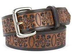 Our custom Two-Tone Celtic Design Leather Belt is hand-dyed and hand tooled creating a unique design and color. The Celtic design is very detailed throughout the middle of the belt in black with a brown interior. The edging of the belt is plain black and is available in 1 width only.