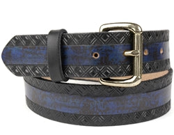 Our custom Two-Tone Marbled Design Leather Belt is hand-dyed and hand tooled creating a unique design and color. The blue marbled design is continuous throughout the middle of the belt with a crisscross design on both edges of the belt in black. This belt is available in 2 widths.