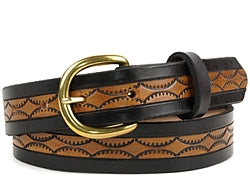 Our custom Two-Tone Black and Brown belt features a half circle pattern on the brown interior with a plain black edging. This Leather Belt is hand-dyed and hand tooled creating a unique design and color.  It is available in 2 different widths.