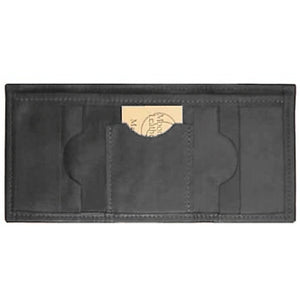 "Black original Tri Fold Wallet has a total of 5 card pockets and a bill pocket with divider. Closed size 4.5"" x 3.25"""