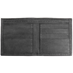 "Black Bi-fold Leather Credit Card wallet holds up to 8 credit cards and 2 additional vertical pockets on the inside of the wallet. Full length bill holder and 1 horizontal vinyl picture insert. Size 4.25"" x 4.50"" folded."