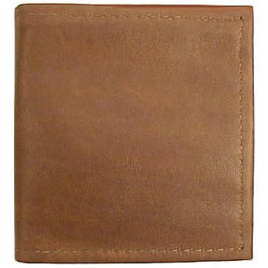 "Canary Tan Bi-fold Leather Credit Card wallet holds up to 8 credit cards and 2 additional vertical pockets on the inside of the wallet. Full length bill holder and 1 horizontal vinyl picture insert. Size 4.25"" x 4.50"" folded."