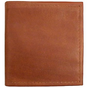 "Cognac Bi-fold Leather Credit Card wallet holds up to 8 credit cards and 2 additional vertical pockets on the inside of the wallet. Full length bill holder and 1 horizontal vinyl picture insert. Size 4.25"" x 4.50"" folded."