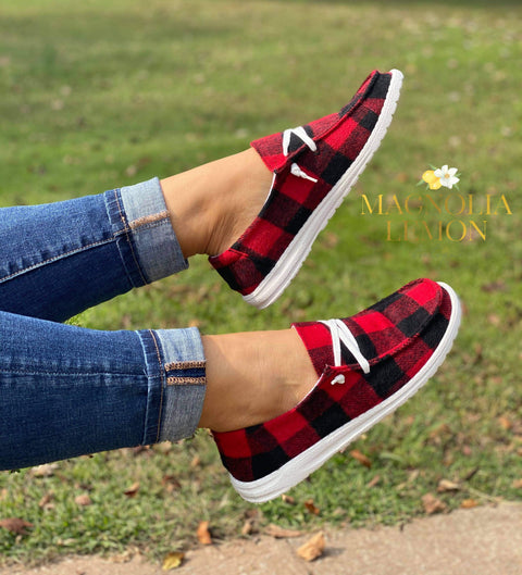 Buffalo Plaid Slip Ons