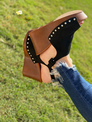 black wedge sandal