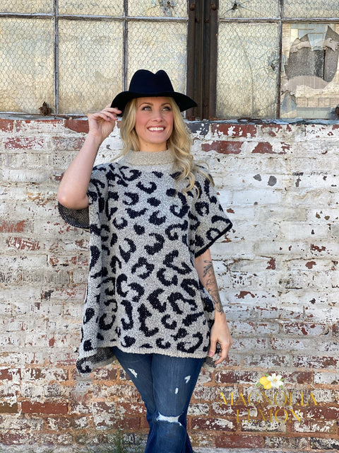 Cozy Animal Print Poncho