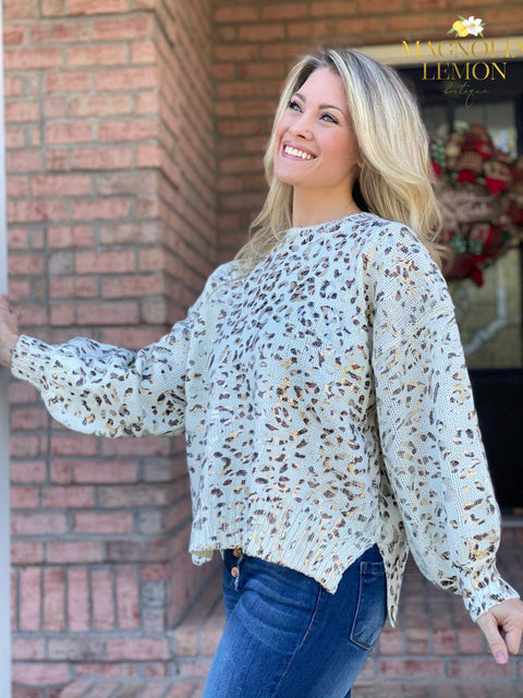 White Animal Print Oversized Sweater