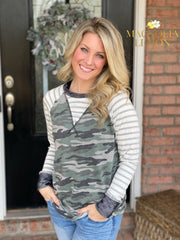 Gray Stripe and Camo Long Sleeve