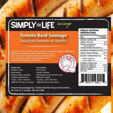 SIMPLY FOR LIFE SAUSAGES - TOMATO BASIL - 400G (4617075687475)