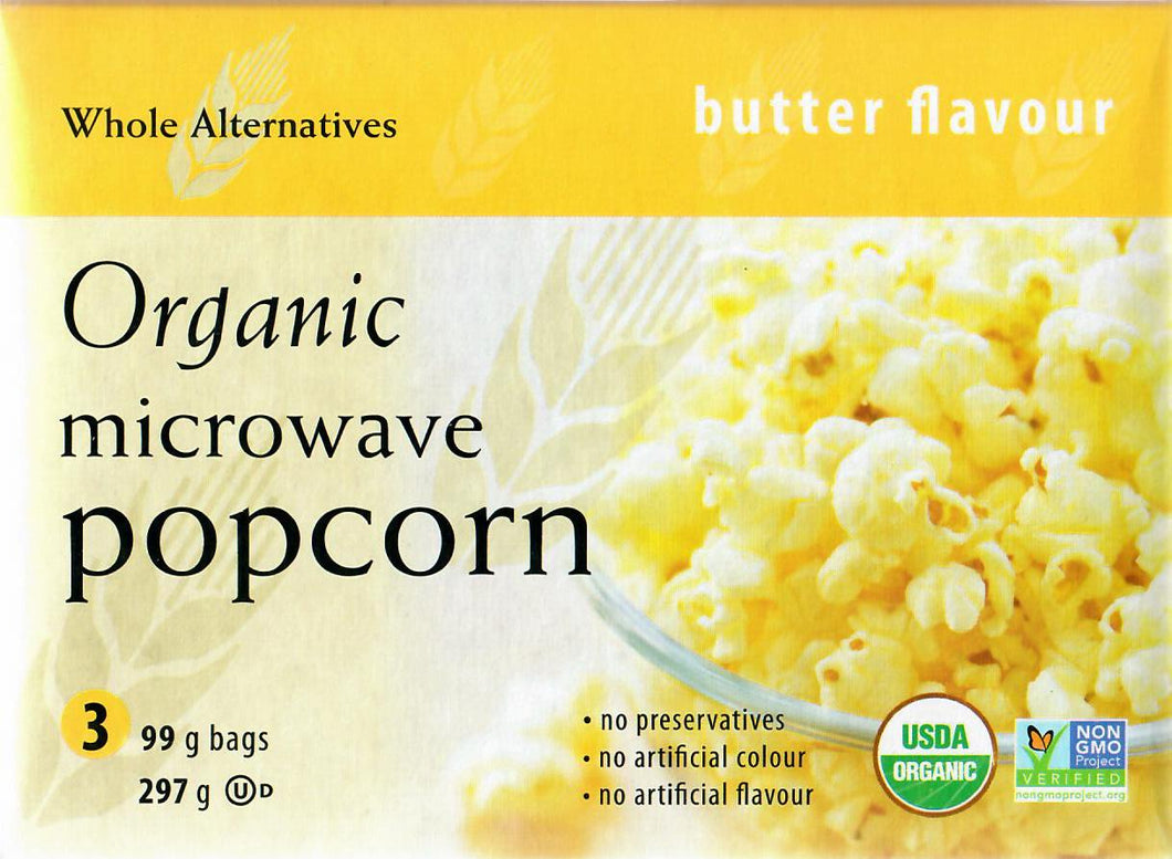 WHOLE ALTERNATIVES ORGANIC MICROWAVE POPCORN - BUTTER - 99 G (4671355912243)
