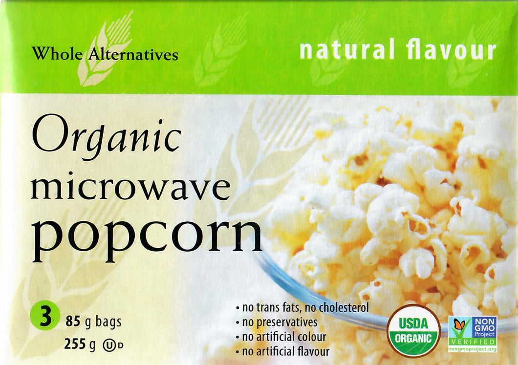 WHOLE ALTERNATIVES ORGANIC MICROWAVE POPCORN - NATURAL - 85 G (4671356665907)