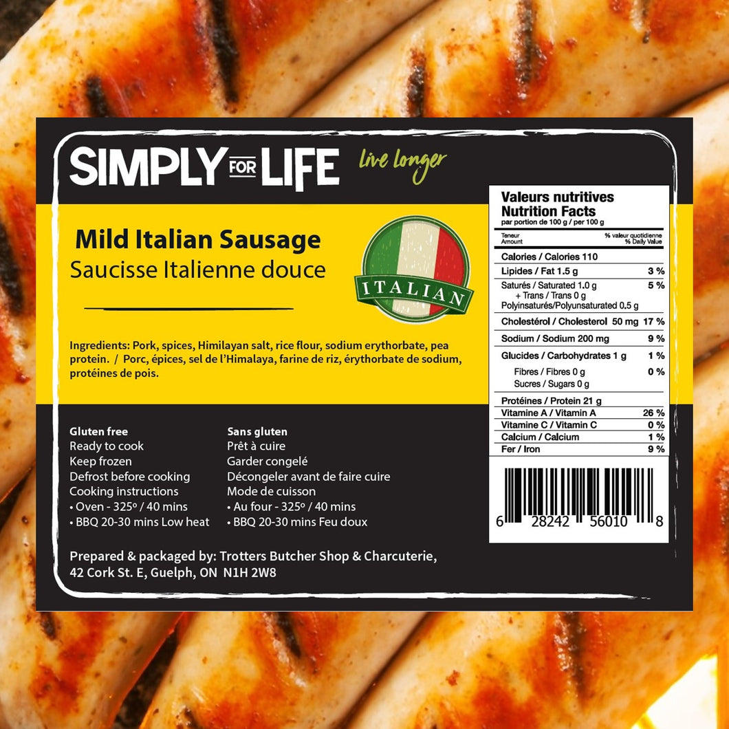 SIMPLY FOR LIFE SAUSAGES - MILD ITALIAN - 400G (4617073229875)