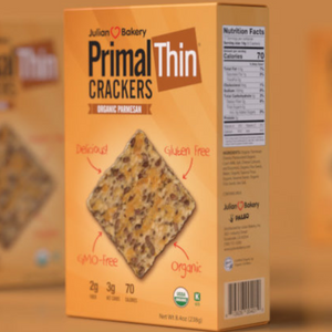 JULIAN BAKERY PRIMAL THIN CRACKERS - ORGANIC PARMESAN 238G (4611855089715)