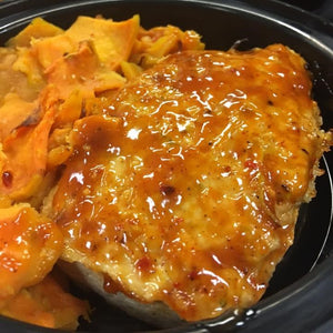 PRIMAL CRAVINGS CHICKEN BROCOLLI APPLE MEATLOAF WITH SCALLOPED SWEET POTATOES AND BUTTERNUT SQUASH (4617112223795)