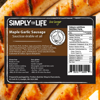 SIMPLY FOR LIFE SAUSAGES - MAPLE GARLIC - 400G (4617076146227)