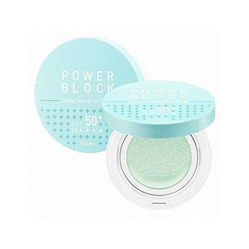 A'PIEU Power Block Cooling Tone Up Sun Cushion Centella Asiatica SPF50+ PA++++ 14g