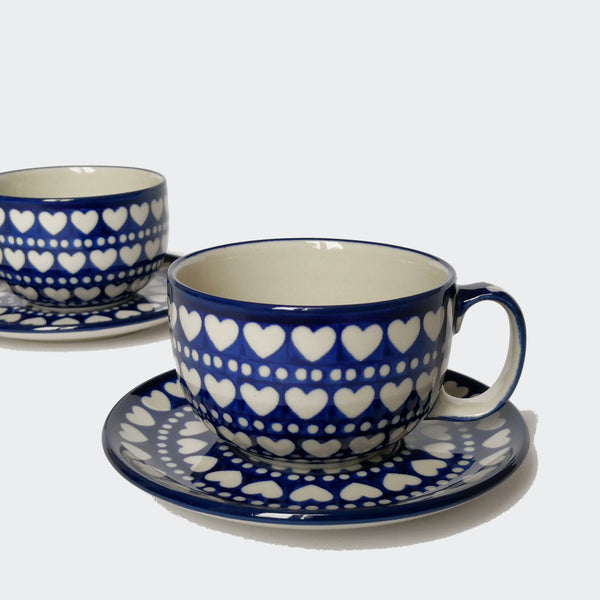 Pair of Large Polish Pottery Cups and Saucers in Blue and White