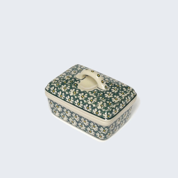 Hand-decorated Stoneware Butter Box in Green by Ceramika Artystyczna