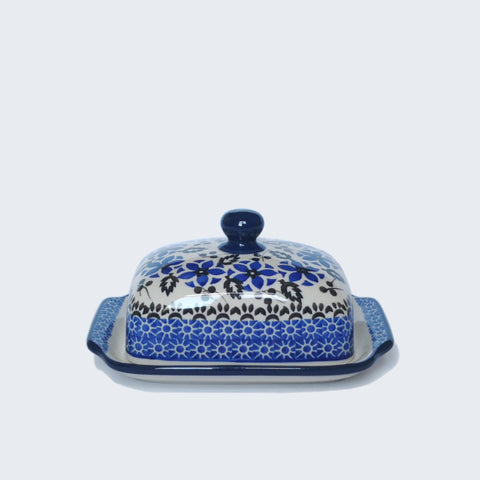 Blue and white Polish Pottery Dome Butter Dish