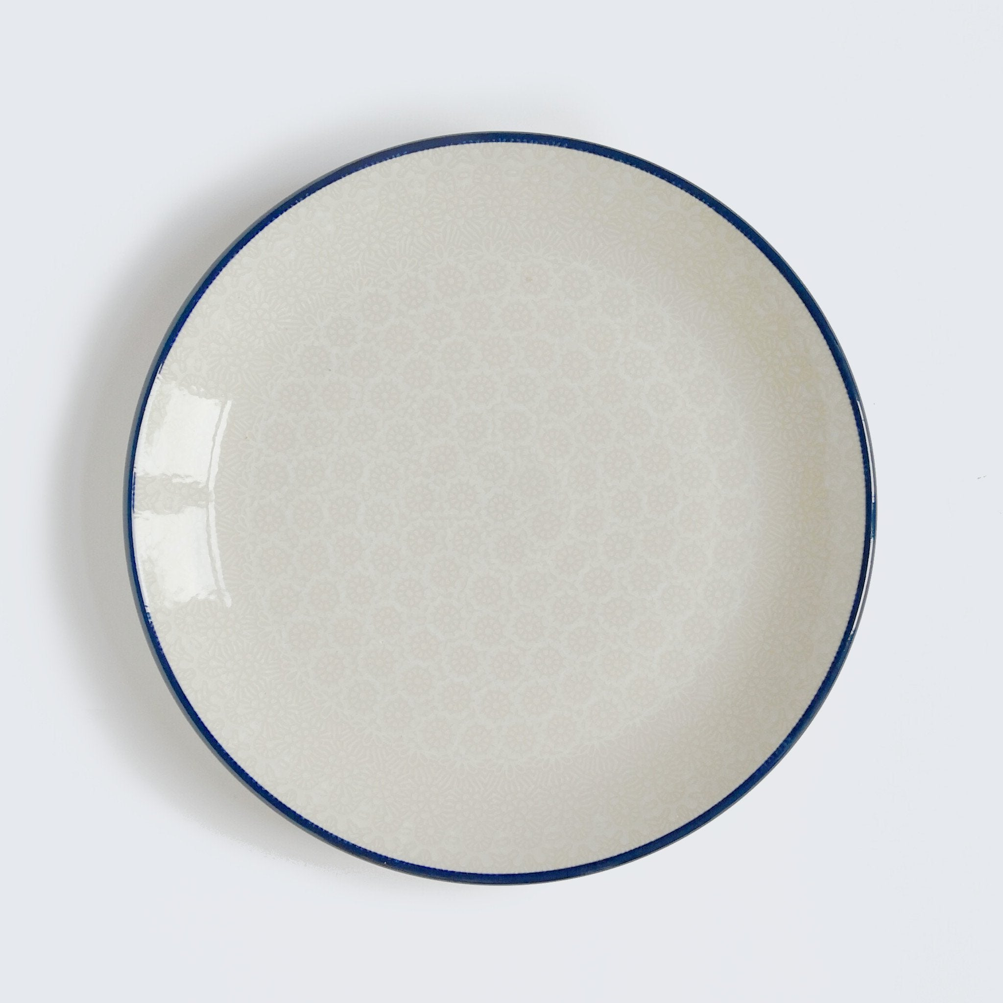 White and Cream Patterned Boleslawiec Stoneware Dinner Plate made by hand by Ceramika Artystyczna