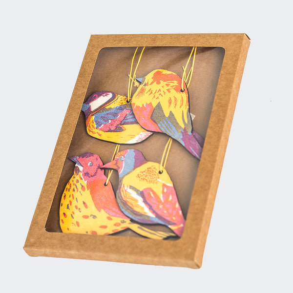 Four Screenprinted Garden Bird Hanging Decorations