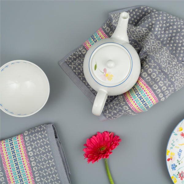 Cotton Hand Towel with Teapot and Plate