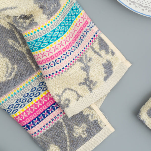 Floral Grey Cream and Pink Kitchen Towel by Artisan Homeware
