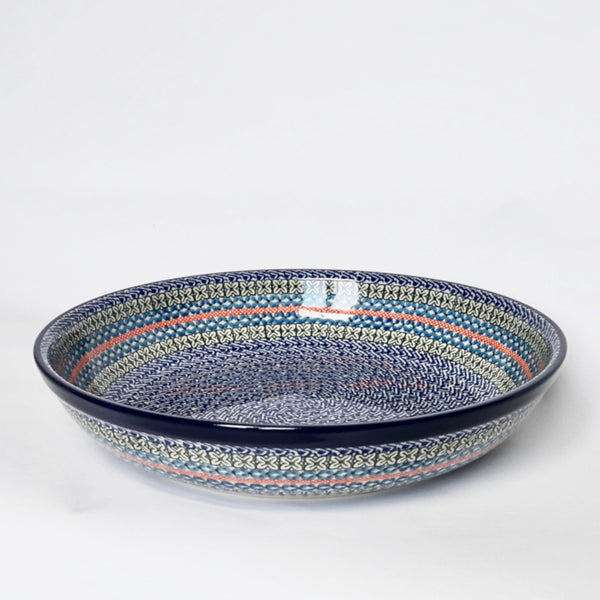 Large shallow 32cm diameter handmade stoneware serving bowl in geometric pattern