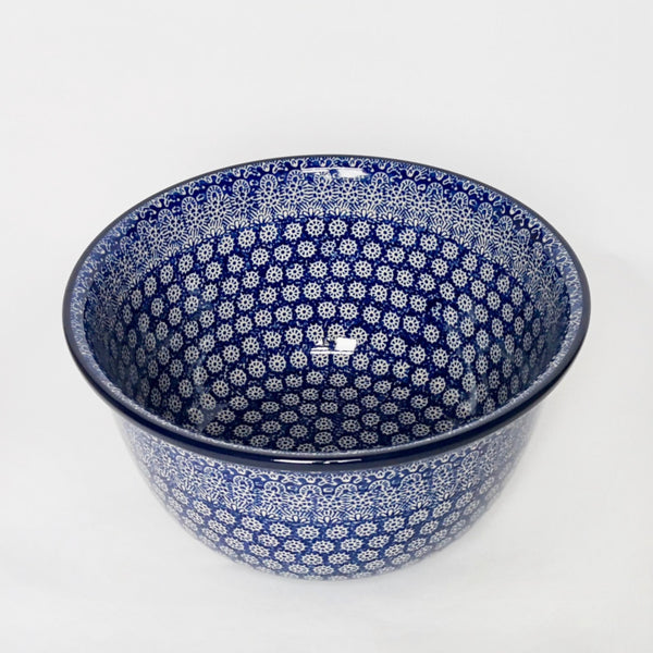 27cm polish pottery mixing bowl in dark blue, decorated by hand