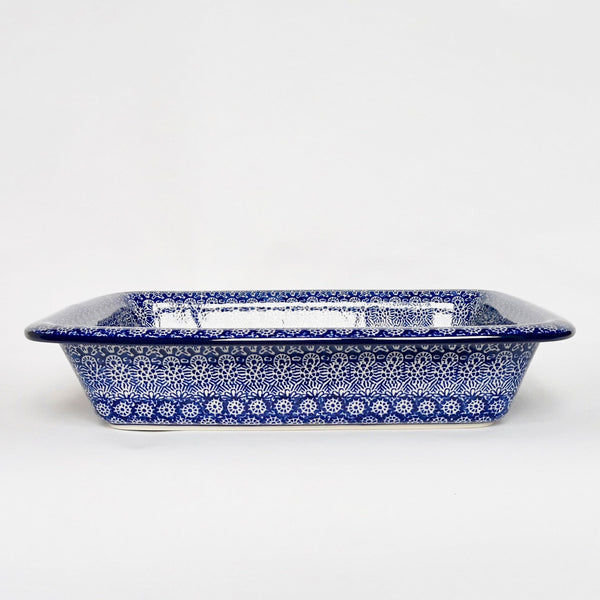 Large Pie Dish in Blue Trellis