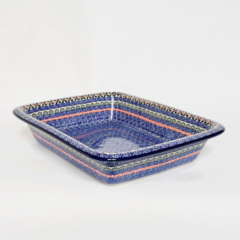 Large Blue Patterned Baking Dish with Lip in Boleslawiec Stoneware by Ceramika Artystyczna